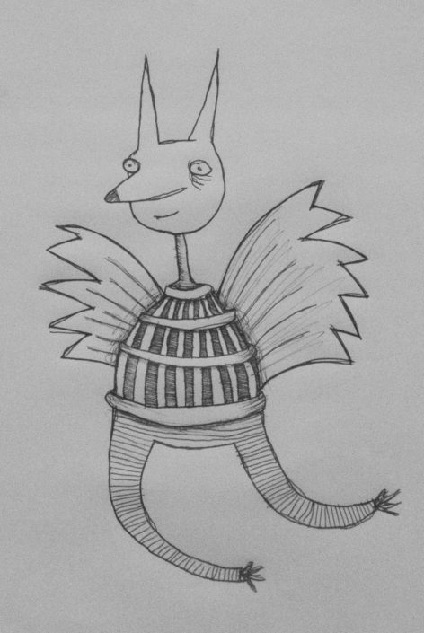 Illustration Fuchsvogel in Tonne